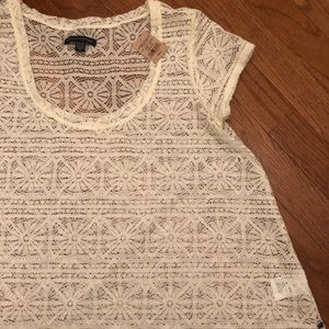 American Eagle Lace Top Ivory Size Small NWT